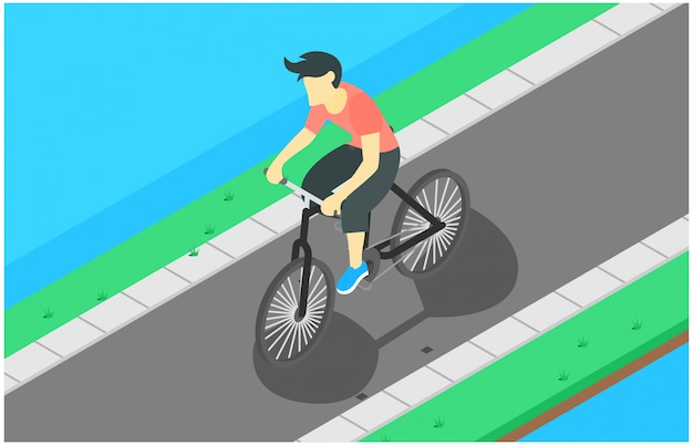Isometric illustration cycling Premium Vector