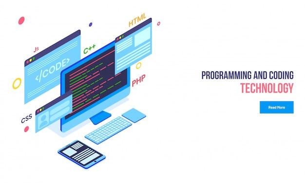 Isometric illustration of desktop, smartphone. Premium Vector
