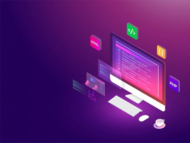 Isometric illustration of desktop Premium Vector