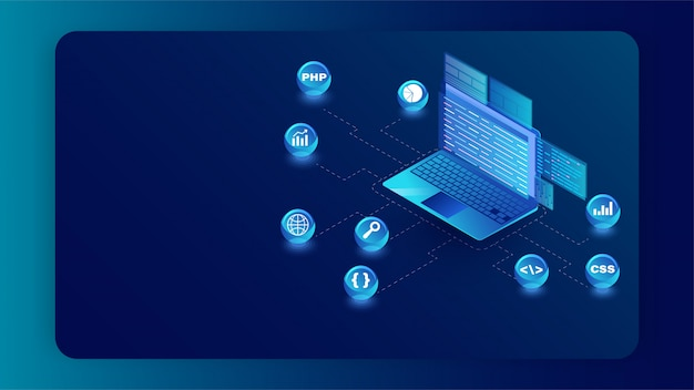 Isometric illustration of laptop with different programming languages symbol on blue banner Premium Vector