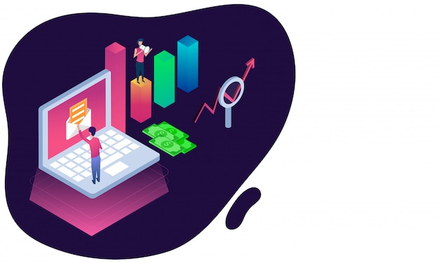 Isometric illustration of man checkout mail in laptop. Premium Vector