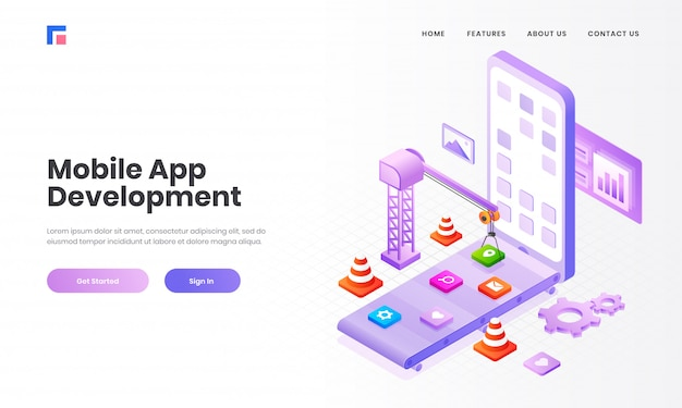 Isometric illustration of multiple application, apps under maintenance by tower crane in smartphone screen for mobile app development concept based landing page design. Premium Vector