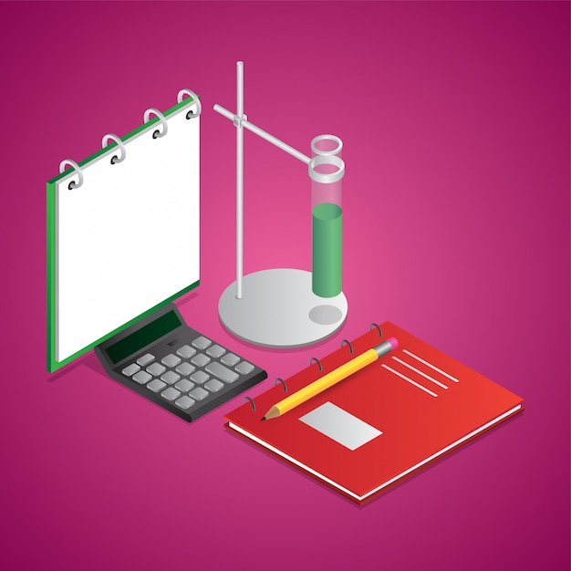 Isometric illustration of notebook with lab clamp stand, calculator and pencil Premium Vector