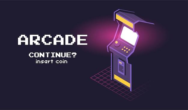 アーケードゲーム機の等角図。 Premiumベクター