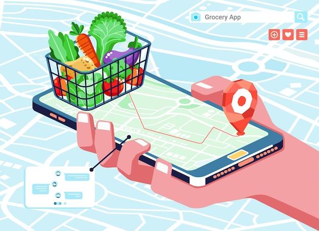 장바구니,지도 및 전화에 식료품이있는 식료품 온라인 쇼핑 앱의 아이소 메트릭 그림 프리미엄 벡터