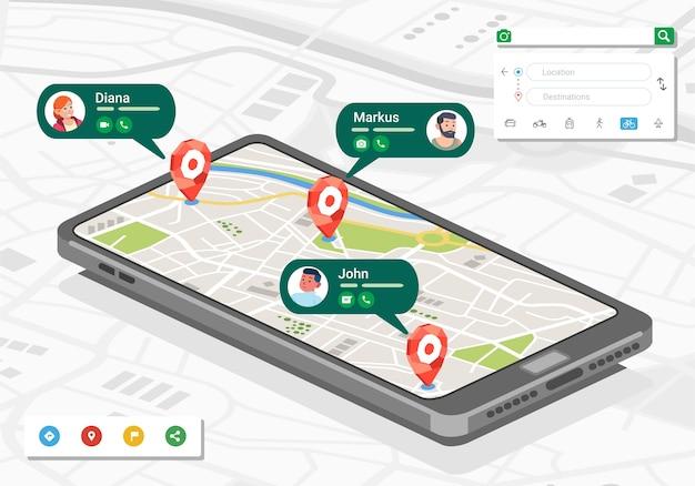 Изометрическая иллюстрация местоположения людей и контактов в картографическом приложении на смартфоне Premium векторы