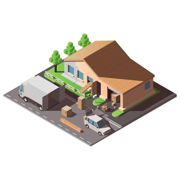 새 집으로 이사를 주제로 한 아이소 메트릭 그림. 프리미엄 벡터