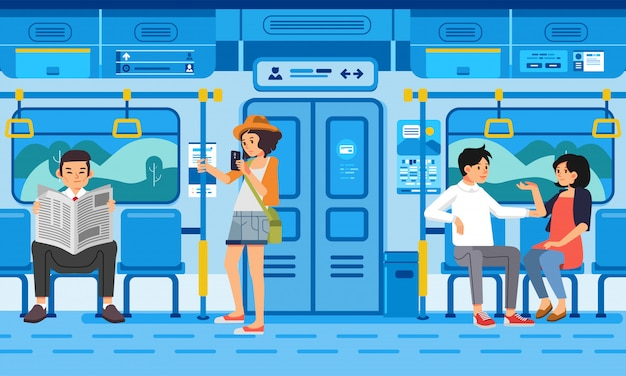 Isometric illustration of people passangers in train modern public transport, with countryside landscape out the window Premium Vector