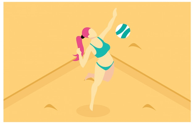 Isometric illustration playing beach volleyball Premium Vector