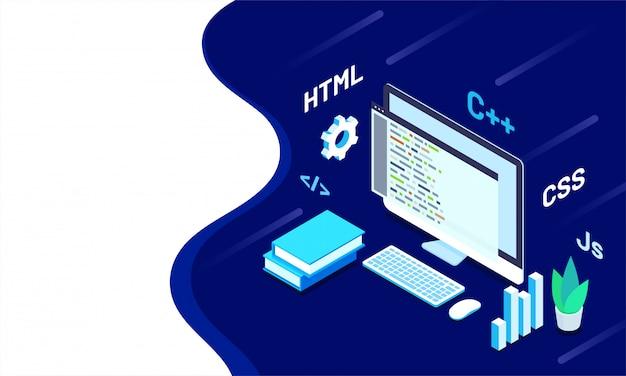 Isometric illustration of programmer desktop. Premium Vector