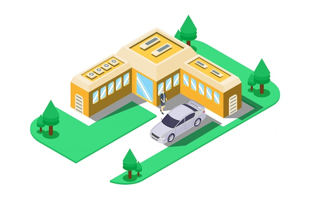 Isometric illustration of repair of asphalt road with road construction signs Premium Vector