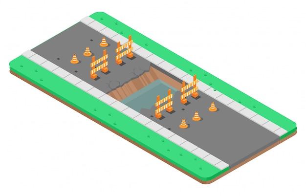 Isometric illustration of repair of asphalt road Premium Vector
