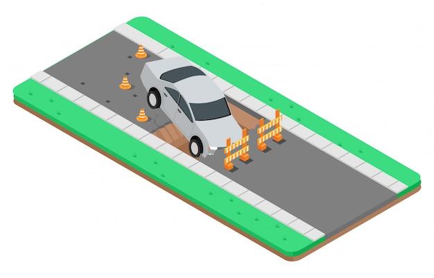 Isometric illustration of road accidents Premium Vector