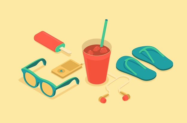 Isometric illustration of summer time objects Premium Vector