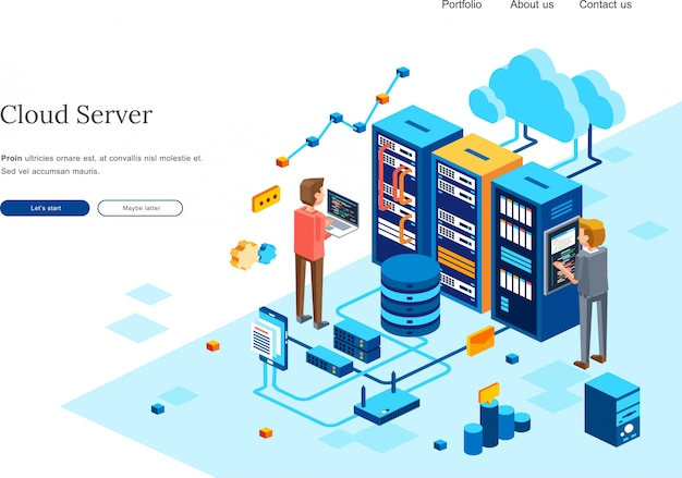 Isometric illustration of two people maintenance computer server in data center room. 3d isometric illustration  for homepage template Premium Vector