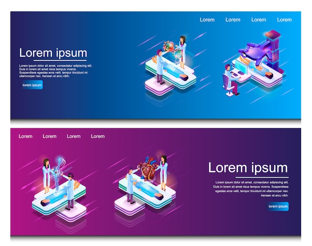 Isometric illustration virtual medical research Premium Vector