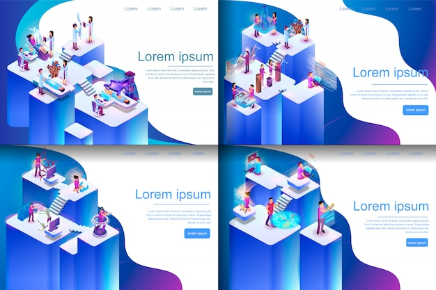 Isometric illustration virtual reality processes Premium Vector