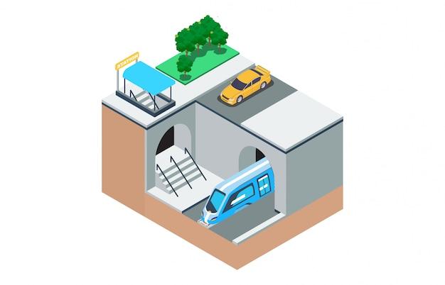 Isometric illustration of the way the subway- Premium Vector