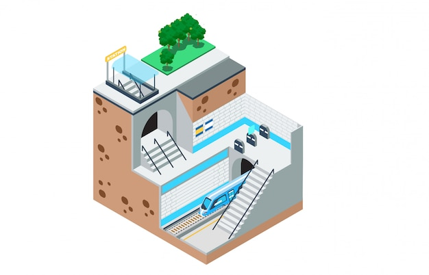 Isometric illustration of the way the subway Premium Vector