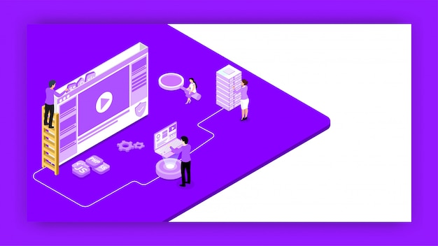 Isometric illustration of web developer fixing the problem. Premium Vector