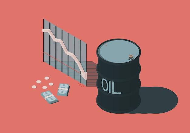 バレル、お金、下落する石油価格をテーマにした図の等角投影図。 Premiumベクター