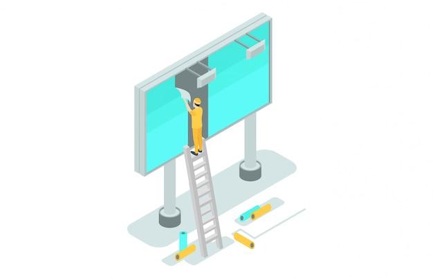 Isometric illustrations advertise on billboards Premium Vector