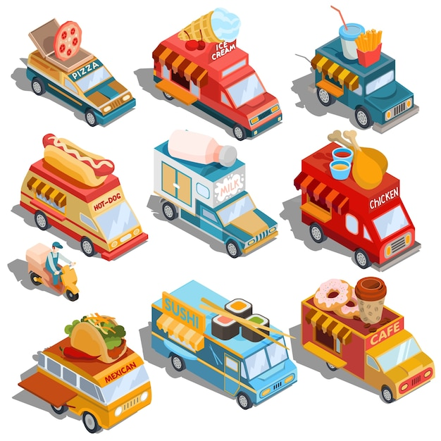 Isometric illustrations of cars fast delivery\ of food and food trucks