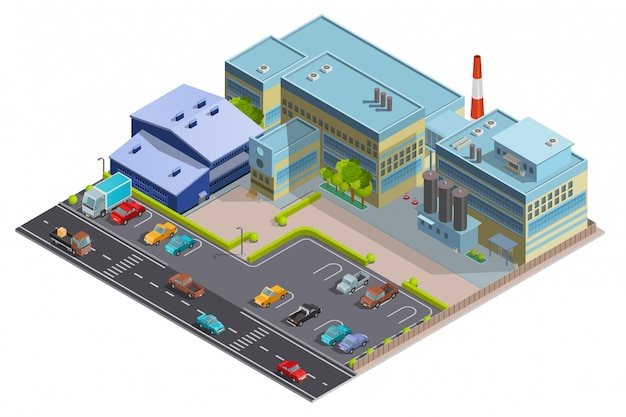 Isometric image of factory composition Free Vector