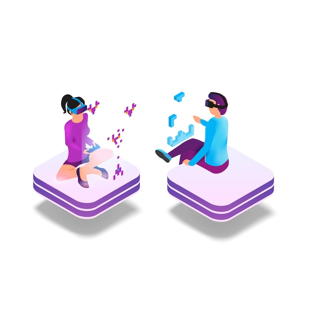 Isometric image gaming in virtual reality in 3d Premium Vector
