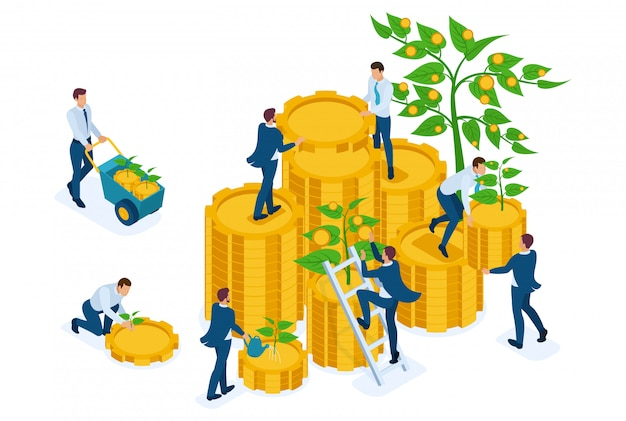 Isometric income from investments, businessmen collect profits and reinvest money. Premium Vector