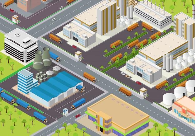 Isometric industrial area Premium Vector