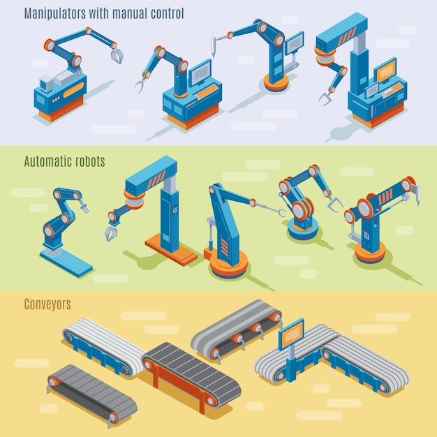Isometric industrial automated factory horizontal banners with manipulators robotic arms and assembly line parts Free Vector