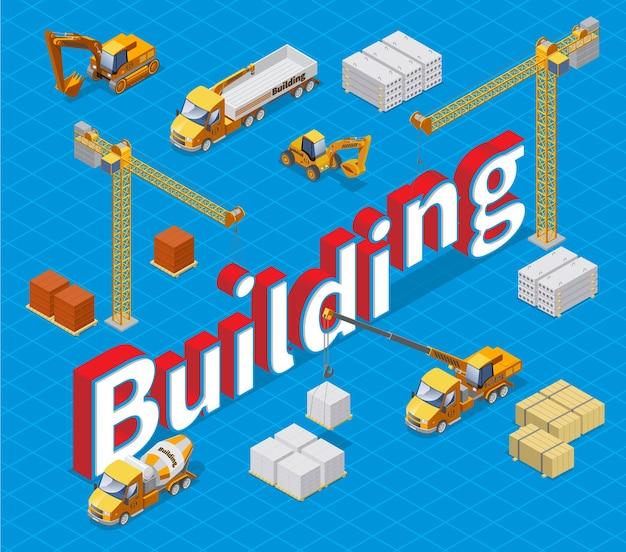 다른 건축 자재 크레인 콘크리트 믹서화물 트럭 및 굴삭기와 아이소 메트릭 산업 건물 개념 절연 무료 벡터