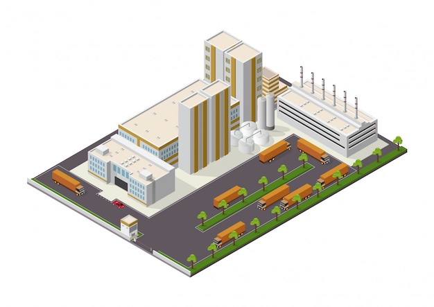 Isometric industrial buildings composition with view of the facilities Premium Vector