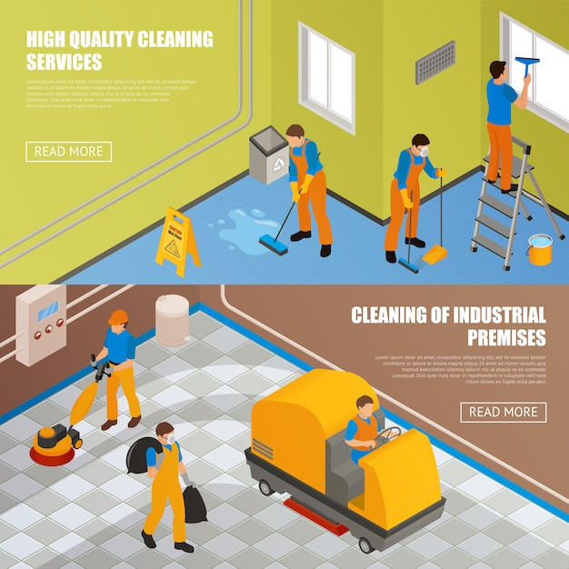 Isometric industrial cleaning banner set Free Vector