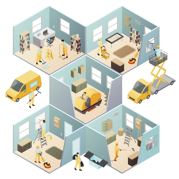 Isometric industrial cleaning colored composition Free Vector