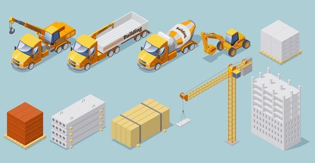 건축 자재 크레인 콘크리트 믹서 무거운화물 트럭 미니 굴삭기와 아이소 메트릭 산업 건설 컬렉션 절연 프리미엄 벡터
