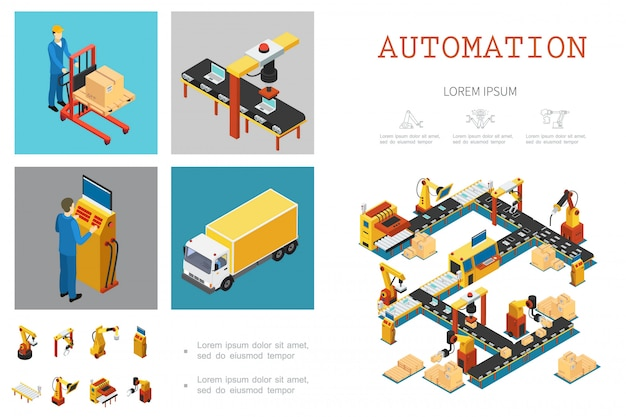 Isometric industrial factory template with automated assembly line workers and mechanical robotic arms Free Vector