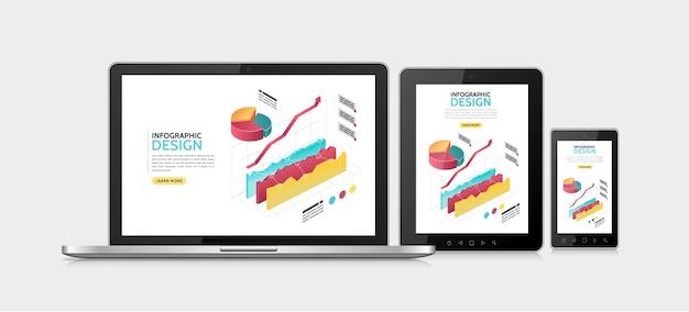 Шаблон адаптивного дизайна изометрической инфографики Бесплатные векторы