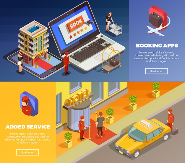 Isometric infographic booking banners Free Vector