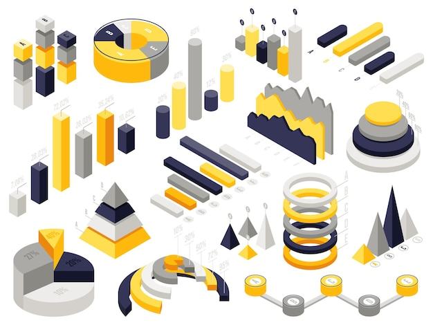 Изометрические инфографические диаграммы. инфографики 3d бизнес-элементы, изометрические диаграммы диаграммы представления. Premium векторы
