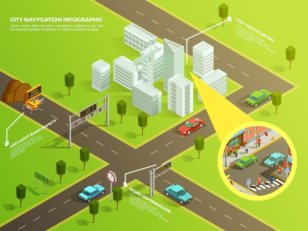 Isometric infographic city navigation Free Vector