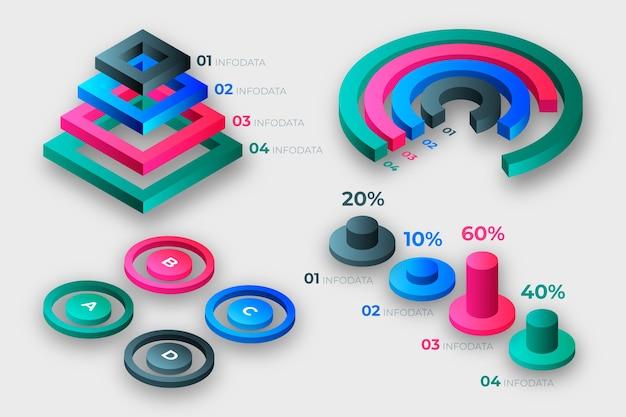 Концепция коллекции изометрические инфографики Бесплатные векторы