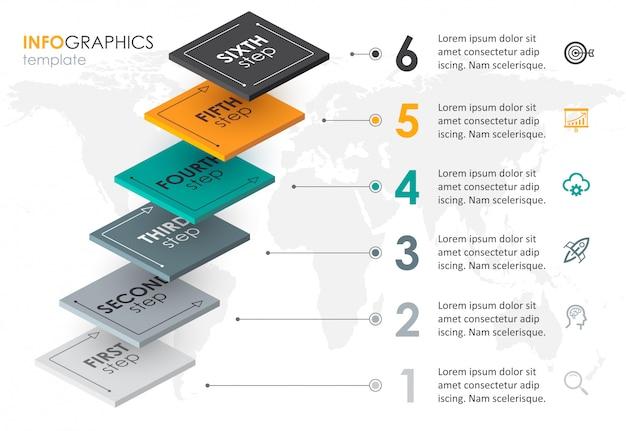 6オプションのレベルまたはステップの等尺性インフォグラフィックデザイン。ビジネスコンセプトのインフォグラフィック。 Premiumベクター