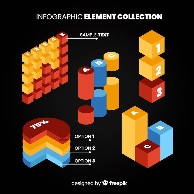 Isometric infographic element collection Free Vector