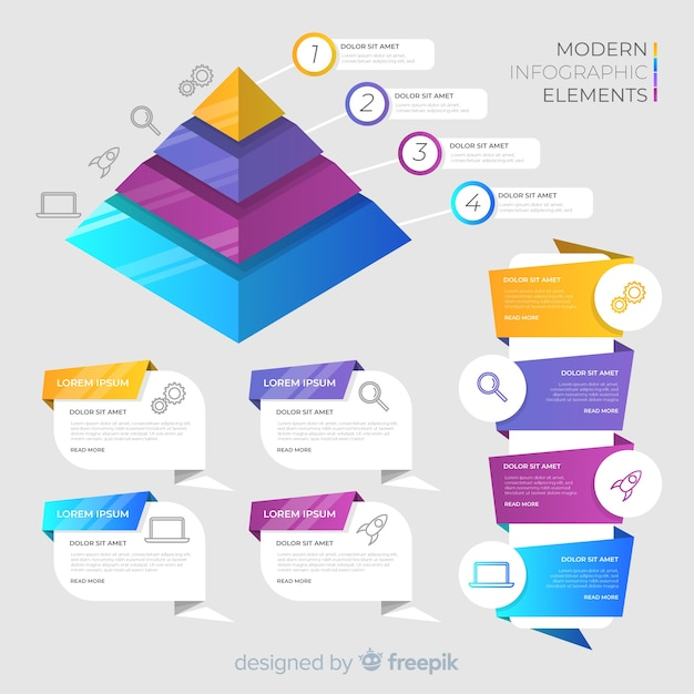 Isometric infographic elements and banners Free Vector
