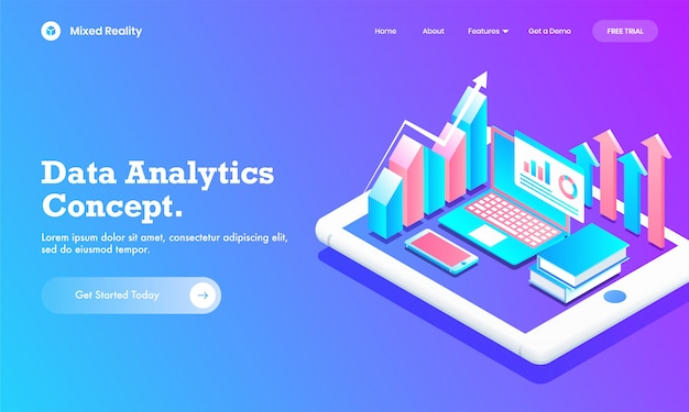 Isometric infographic graph chart with laptop, book and mobile on tablet screen for data analytics concept website or landing page design. Premium Vector