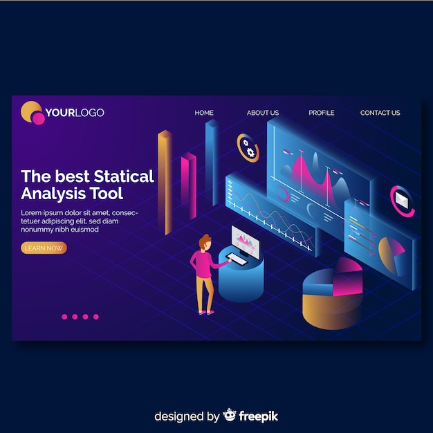 Isometric infographic landing page template Free Vector