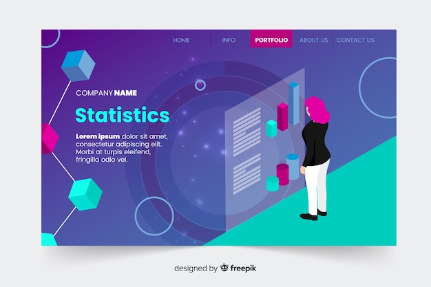 Isometric infographic landing page Free Vector