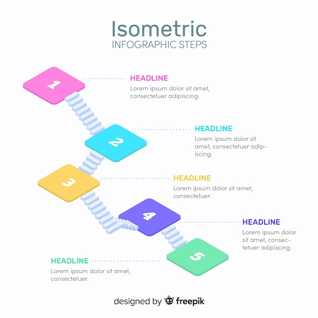 Isometric infographic steps template Free Vector